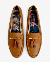 Ted Baker | Brown Tasselled Leather Moccasin Shoes | Lyst