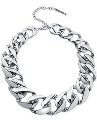 T Tahari | Metallic Flat Link Collar Necklace | Lyst