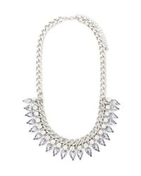Forever 21 | Metallic Threaded Rhinestone Statement Necklace | Lyst