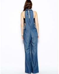 BCBGeneration - Blue Overalls in Denim with Drawstring Detail - Lyst