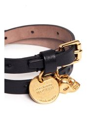 Alexander McQueen - Black Concealed Stud Double Wrap Skull Leather Bracelet for Men - Lyst