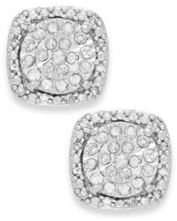 Macy's | Metallic Diamond Cushion Stud Earrings In Sterling Silver (1/3 Ct. T.w.) | Lyst