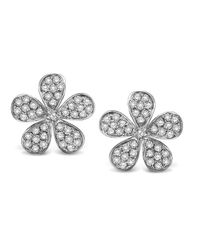 KC Designs   White 14k Gold And Diamond Flower Earrings   Lyst
