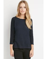 Forever 21 | Blue Shadow Stripe Top | Lyst