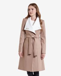 Ted Baker   Natural Long Wool Wrap Coat   Lyst