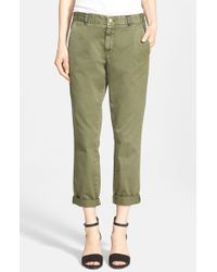 Current/Elliott | Green 'the Buddy' Twill Trousers | Lyst
