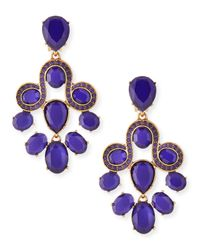 Oscar de la Renta - Purple Faceted Resin Chandelier Earrings - Lyst