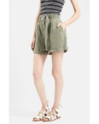 TOPSHOP | Green Casual D-ring Shorts | Lyst
