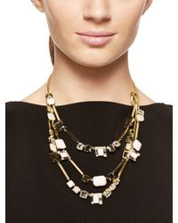 kate spade new york | Metallic Neapolitan Triple Strand Necklace | Lyst