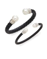 Majorica | Black Ophol 8mm-14mm White Round Pearl & Leather Bangle Bracelet Gift Box Set | Lyst