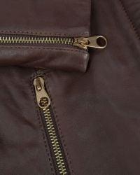 Ted Baker - Brown Ciel Shearling Trim Leather Jacket - Lyst