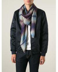 Giorgio Armani | Blue Fringed Tie Dye Scarf for Men | Lyst