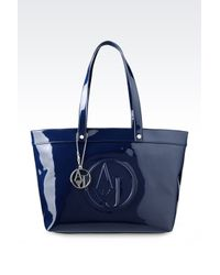 a7c5f593c386 Armani Jeans. Women s Blue Shopping Bag In Patent Faux Leather With Pendant