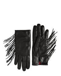 Valentino - Black Fringed Nappa Leather Gloves - Lyst