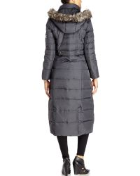 DKNY - Gray Faux Fur Trim Long Down Coat - Lyst