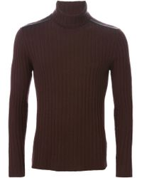 John Varvatos - Brown Ribbed Turtle Neck Sweater for Men - Lyst