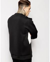 Jaded London - Black Oversized Sweatshirt In Neoprene & Faux Leather Patches for Men - Lyst