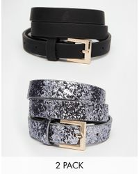 ASOS - Multicolor 2 Pack Glitter And Plain Belts - Lyst