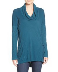 Splendid | Blue '1x1' Cowl Neck Top | Lyst