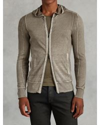 John Varvatos | Natural Silk Cotton Hooded Sweater for Men | Lyst