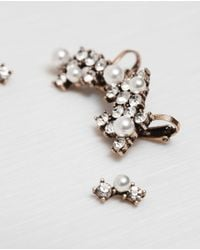 Zara | Metallic Earcuff Earrings With Crystal Pearls Pack Of 3 | Lyst