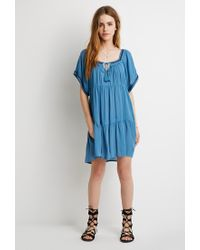 Forever 21 | Blue Embroidered Peasant Dress | Lyst
