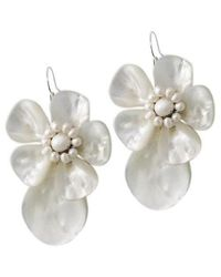 Aeravida - Multicolor Unique White Shell&pearl Flower .925 Silver Earrings - Lyst