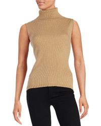Vince Camuto | Brown Petite Sleeveless Turtleneck Sweater | Lyst