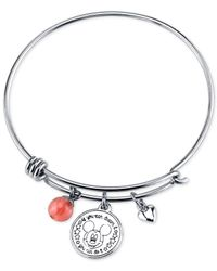 Disney - Metallic Mickey Minnie Mouse Cherry Quartz Charm Bracelet In Stainless Steel - Lyst
