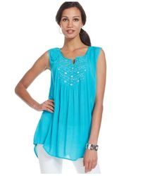 Style & Co. - Blue Plus Size Sleeveless Beaded Top - Lyst