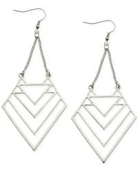 Guess | Metallic Silver-tone Cutout Triangle Drop Earrings | Lyst