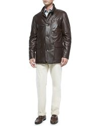 Peter Millar - Brown Sheepskin Leather Jacket for Men - Lyst