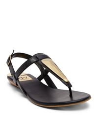 Dolce Vita | Black Allura Faux Leather Thong Sandals | Lyst