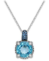 Macy's | Blue Topaz (7-1/2 Ct. T.w.) And Swarovski Zirconia Accent Pendant Necklace In Sterling Silver | Lyst