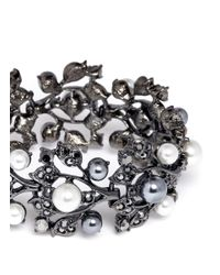 Kenneth Jay Lane | Gray Crystal Pearl Vine Bracelet | Lyst