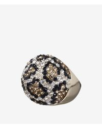 Express | Metallic Pave Leopard Dome Ring | Lyst