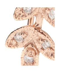 Jacquie Aiche | Pink Small Leaf 14kt Rose Gold Ear Cuff with White Diamonds | Lyst