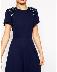 ASOS | Purple Sleeved Embellished Maxi Dress | Lyst