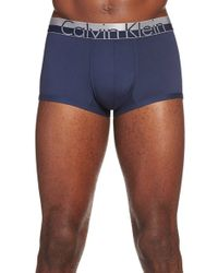 Calvin Klein | Blue 'magnetic Force' Microfiber Low Rise Trunks for Men | Lyst