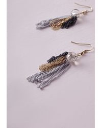 Missguided | Metallic Tiered Fringe Earrings | Lyst