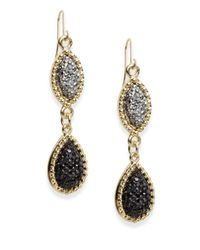 Carol Dauplaise - Black Pavé Double Drop Earrings - Lyst