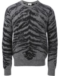 Saint Laurent - Gray Animal Print Sweater for Men - Lyst