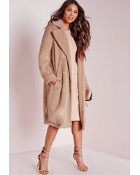 290ed591c6f97 Missguided Longline Double Breasted Teddy Fur Coat Camel in Natural ...