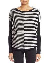Lord & Taylor | White East-west Striped Cashmere Sweater | Lyst