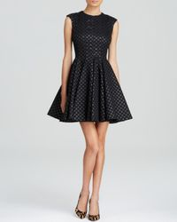 JILL Jill Stuart - Black Dress - Sleeveless Polka Dot Metallic Jacquard - Lyst