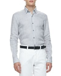 Ermenegildo Zegna | Linen Sport Shirt Gray for Men | Lyst