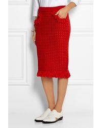 Sibling | Orange Fringed Merino Wool-Bouclé Skirt | Lyst