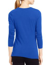 Lauren by Ralph Lauren | Blue Logo Stretch-jersey Tee | Lyst