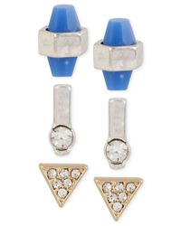 Kenneth Cole - Two-tone Blue Faceted Stone & Pavé Triangle Stud Earring Set - Lyst