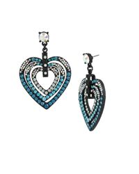 Betsey Johnson | Blue Pave Heart Drop Earrings | Lyst